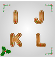Gingerbread font i to l vector