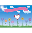 Flower with heart sky and ribbon vector