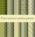 Green summer seamless patterns vector