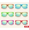 Set of vintage party sunglasses retro style vector