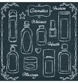 Chalkboard cosmetic bottles set 2 vector