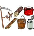 Country objects cartoon set vector