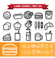 Line icons set 20 vector