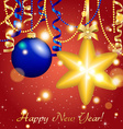 New year greeting card christmas star ball with vector