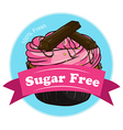 A sweet cupcake with a sugar free label vector