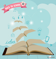Opened flying books with application icon modern vector
