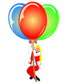 Image of pretty woman with colorful balloons vector