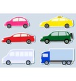 Transport set with colorful cars silhouette vector