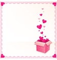 Pink greeting card with ornate box of hearts vector