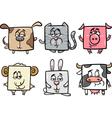Square animals set cartoon vector