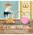 Woman at gymnasium fitness poster vector