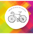 Retro road bicycle on colorful background vector