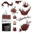 Chocolate splashes set vector