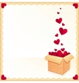 Greeting card with ornate box of red flying hearts vector