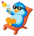 Cute penguin cartoon sitting on beach chair vector