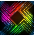 Abstract rainbow neon corners background vector