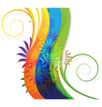 Transparent flowers on abstract rainbow background vector