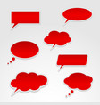 Set of various red speech bubbles vector