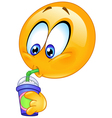 Drinking soda emoticon vector