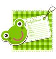 Baby shower frog invitation card vector