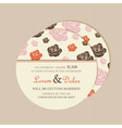 Round invitation with roses vector