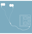 White headphones with cord and player in retro sty vector
