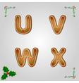 Gingerbread font u to x vector