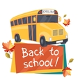 Back to school background with of yellow bus vector