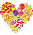 Candies in shape of heart vector