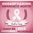 Breast cancer ribbon awareness poster vector