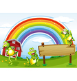 An empty wooden board with frogs and a rainbow in vector