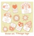 Set of ten vintage tags vector
