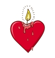Heart burning candle vector