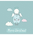 Christmas card with angel in sky vector