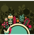 Half round banner with flowers vector