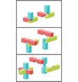 Connection of details a toy building kit vector