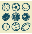 Grunge sport balls stamp icons vector