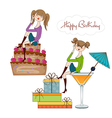 Two party girl set isolated on white background vector
