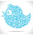 Tweet bird make with group of people vector