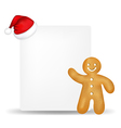 Gingerbread with paper and santa hat vector