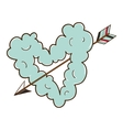 Cloud heart with arrow vector
