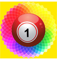 Bingo ball on kaliedoscope flower vector