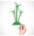 Green windmill sticker vector