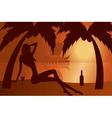 Beautiful woman silhouette on a beach vector