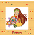 Young girl with a bunch of flowers vector