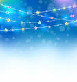 Blue magic holiday background with colored stars vector