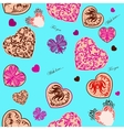 Seamless background with stylized hearts vector