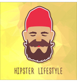 Hipster guy in a red fashion hat vector