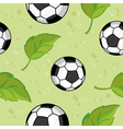 Seamless football and leaves vector