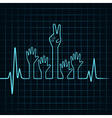 Heartbeat make helping and victory hand vector